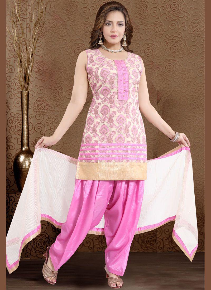 Banglori Silk Fancy Pink Readymade Suit