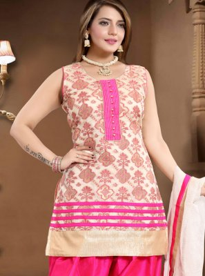 Banglori Silk Fancy Readymade Suit in Cream and Pink