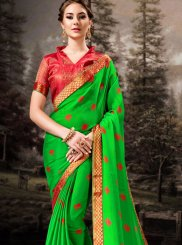 Banglori Silk Green Lace Silk Saree