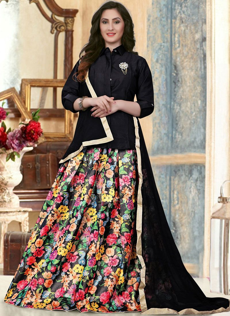 Banglori Silk Lace Black Readymade Lehenga Choli