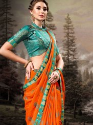 Banglori Silk Lace Orange Classic Designer Saree