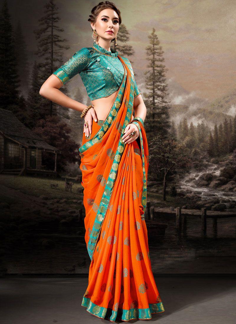 Banglori Silk Lace Orange Classic Designer Saree