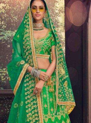 Banglori Silk Lehenga Choli in Green