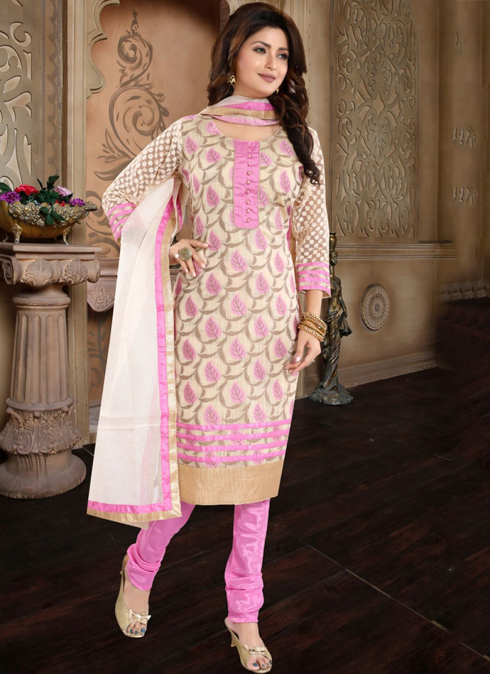 Banglori Silk Pink Churidar Designer Suit