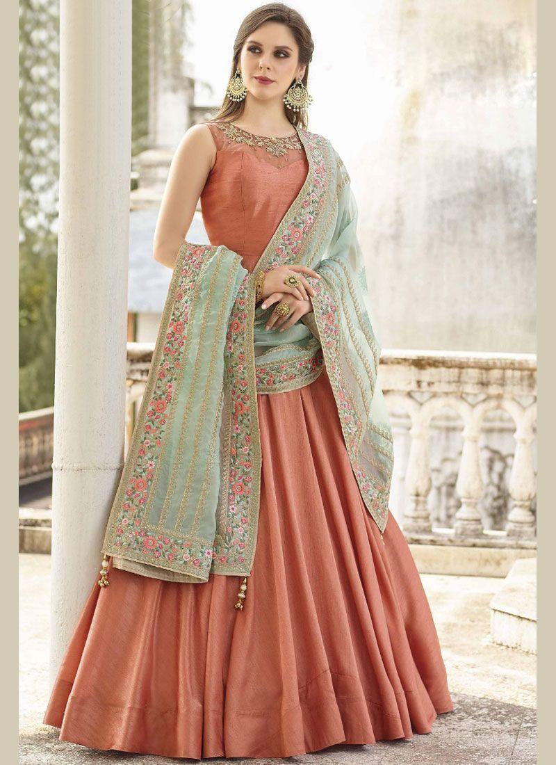 Banglori Silk Resham Orange Readymade Anarkali Suit
