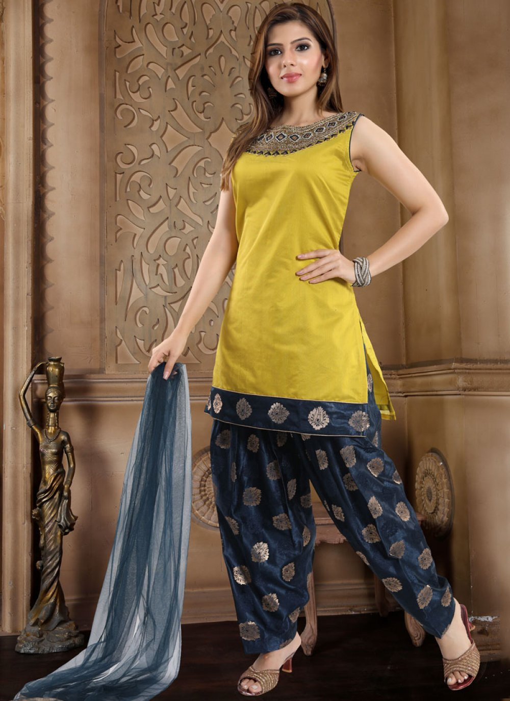 Banglori Silk Yellow Fancy Readymade Suit