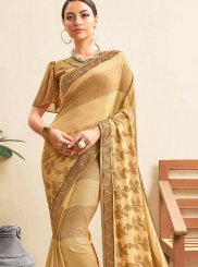 Beige Abstract Print Casual Printed Saree