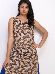 Beige and Blue Cotton Party Wear Kurti