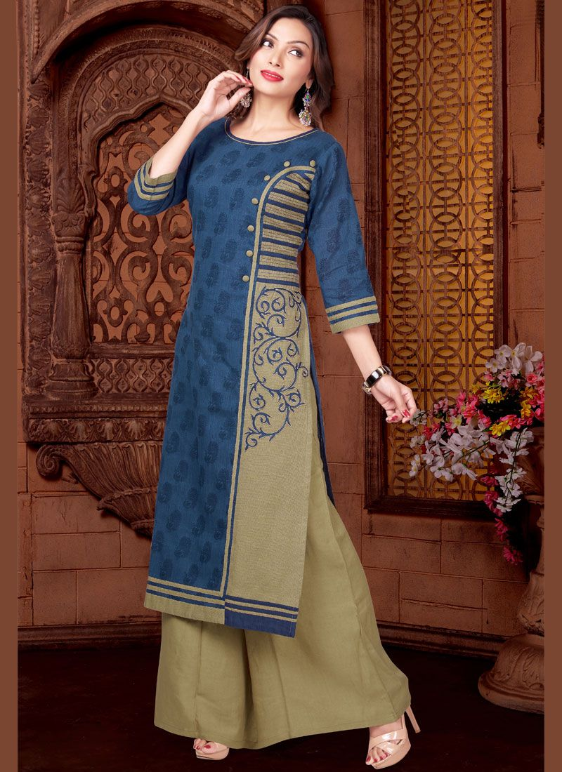 Beige and Blue Cotton   Readymade Suit