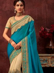 Beige and Blue Patch Border Ceremonial Half N Half  Saree