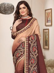 Beige and Brown Ceremonial Shaded Saree