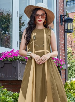 Beige and Brown Cotton   Plain Casual Kurti