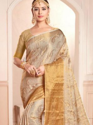 Beige and Brown Silk Party Trendy Saree