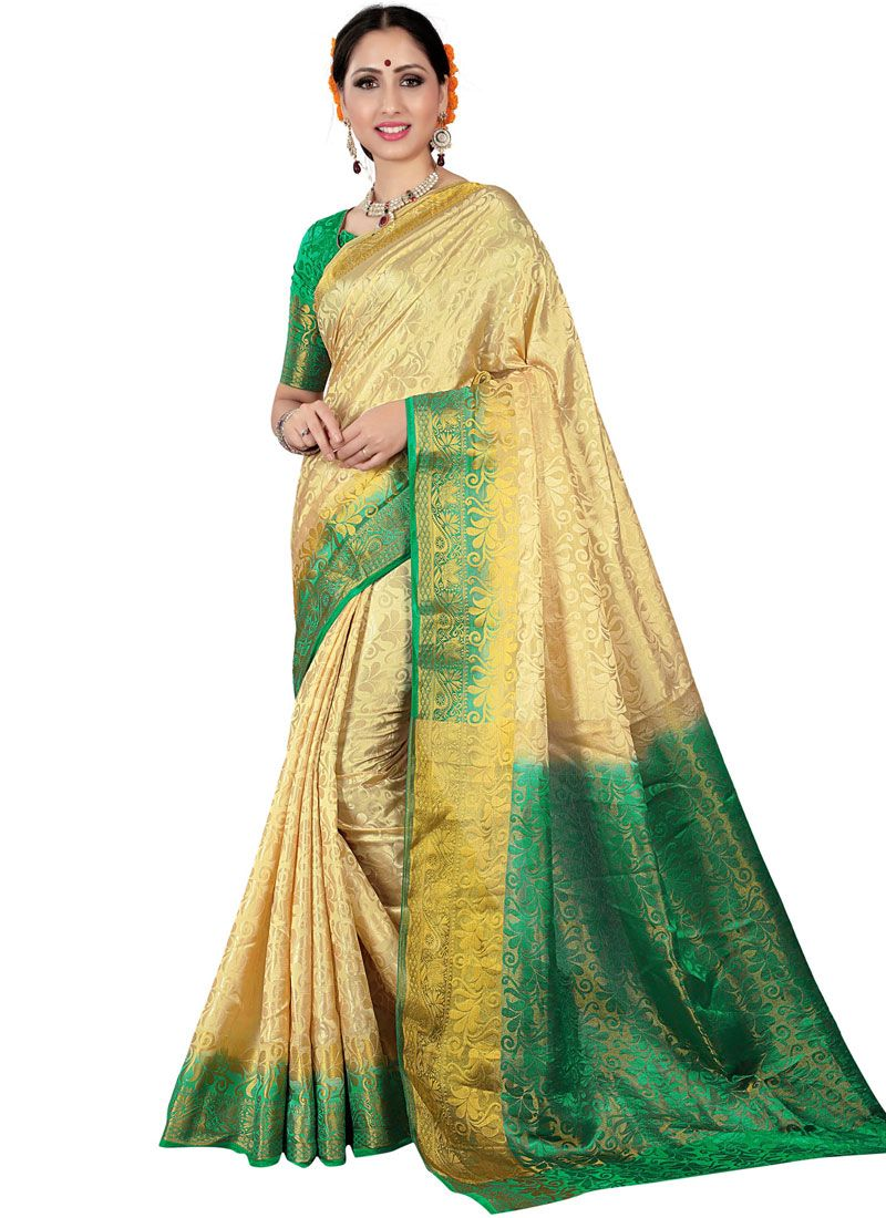 Beige and Green Fancy Fabric Woven Traditional Saree