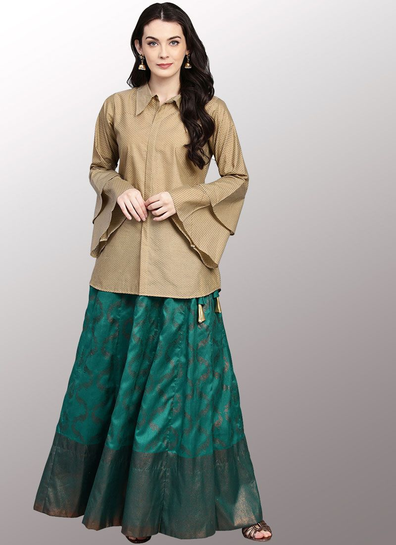 Beige and Green Plain Party Wear Kurti