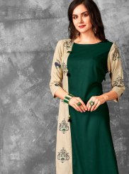 Beige and Green Printed Rayon Designer Kurti