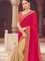 Beige and Hot Pink Embroidered Designer Half N Half Saree