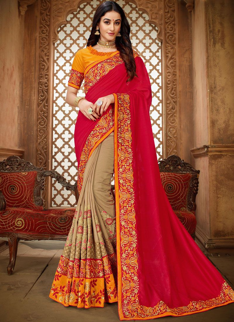 Beige and Hot Pink Festival Art Silk Classic Saree