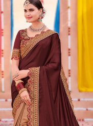 Beige and Maroon Bridal Half N Half Designer Saree