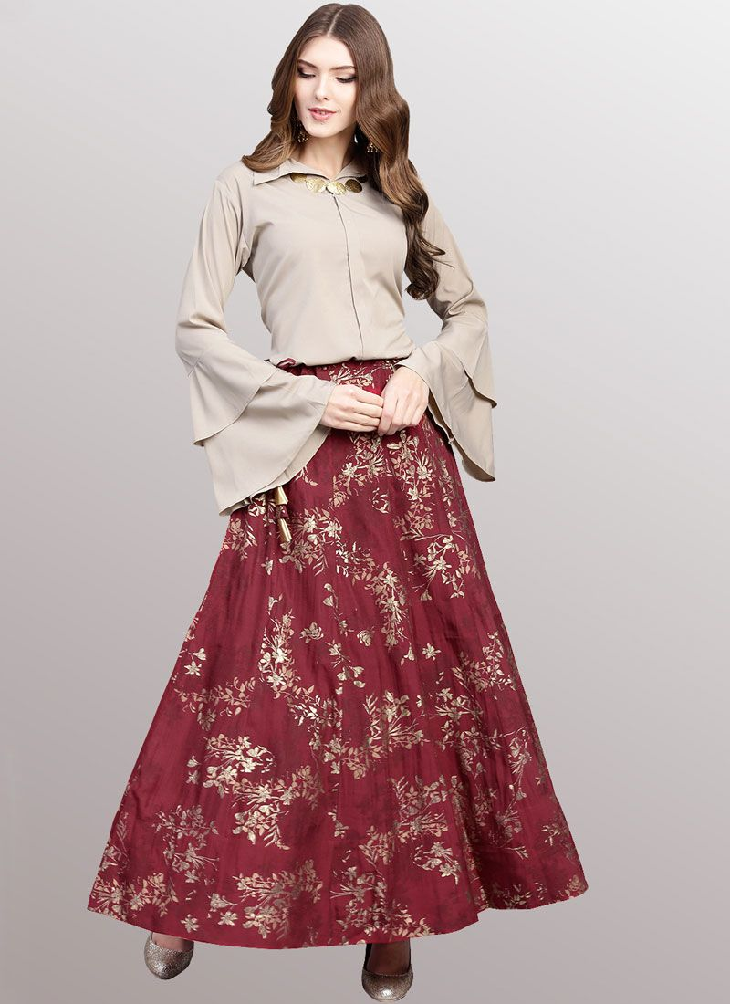 Beige and Maroon Faux Crepe Festival Party Wear Kurti