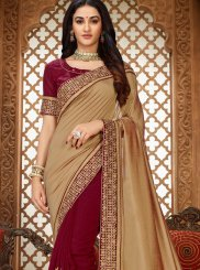Beige and Maroon Patch Border Art Silk Saree