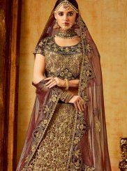 Beige and Maroon Wedding A Line Lehenga Choli