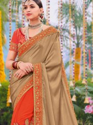 Beige and Orange Wedding Designer Half N Half Saree