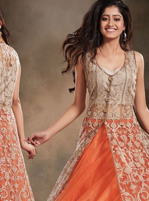 Beige and Orange Wedding Net Designer Salwar Kameez