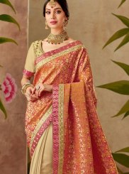 Beige and Peach Wedding Designer Half N Half Saree