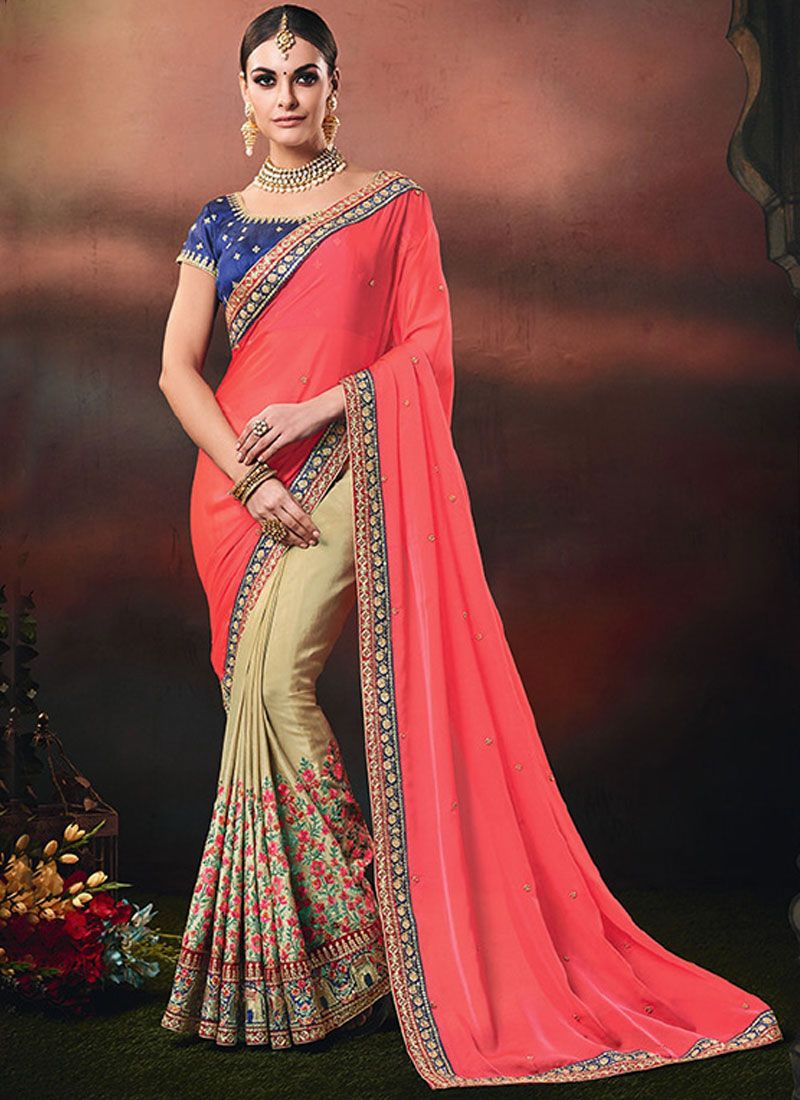 Beige and Pink Color Designer Half N Half Saree