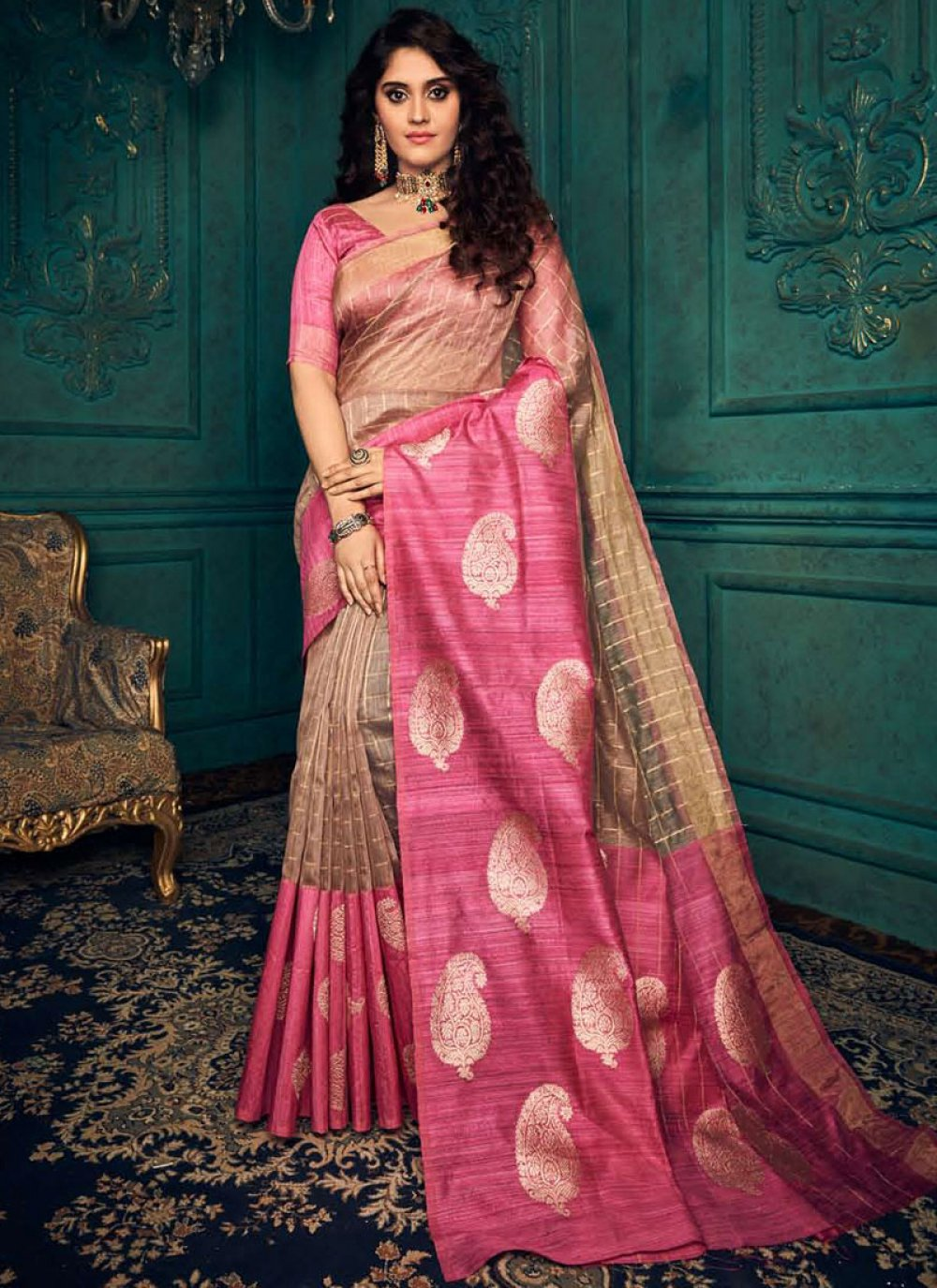 Beige and Pink Weaving Designer Traditional Saree