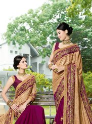 Beige and Purple Patch Border Brasso Designer Half N Half Saree