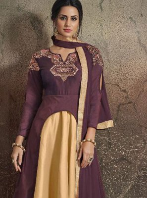 Beige and Purple Tafeta Silk Party Designer Gown