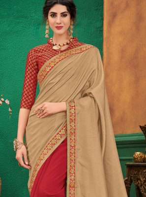 Beige and Red Ceremonial Designer Half N Half Saree