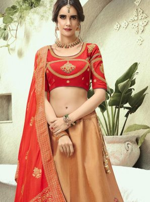 Beige and Red Jacquard Silk Resham Lehenga Choli