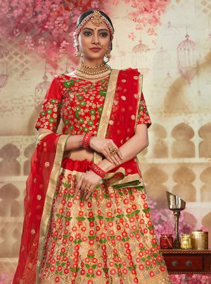 Beige and Red Net Wedding Lehenga Choli