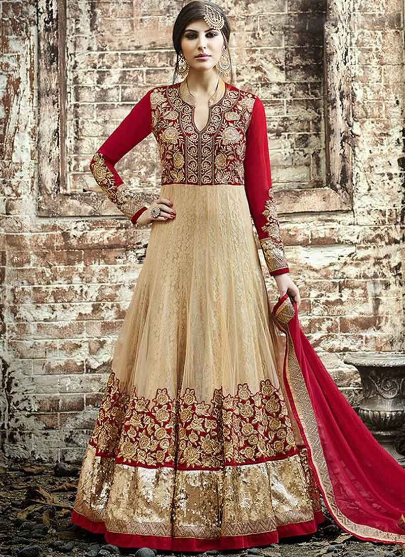 Beige and Red Patch Border Work Anarkali Salwar Kameez