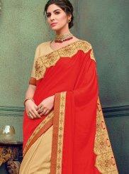 Beige and Red Wedding Designer Half N Half Saree