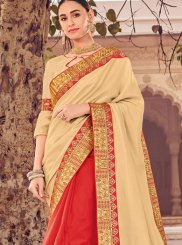 Beige and Red Wedding Designer Half N Half Saree