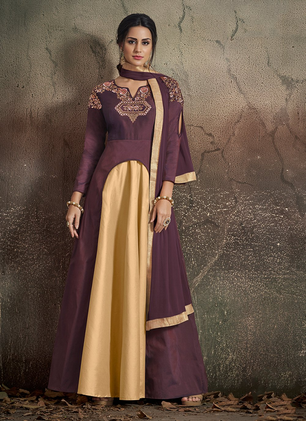 Beige and Wine Embroidered Readymade Designer Gown