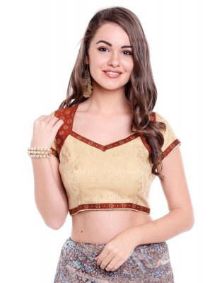 Beige Art Banarasi Silk Designer Blouse