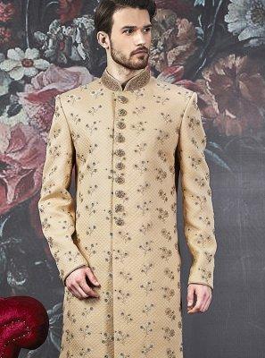 Beige Art Banarasi Silk Indo Western