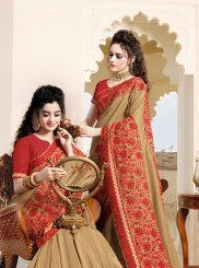 Beige Art Silk Designer Saree