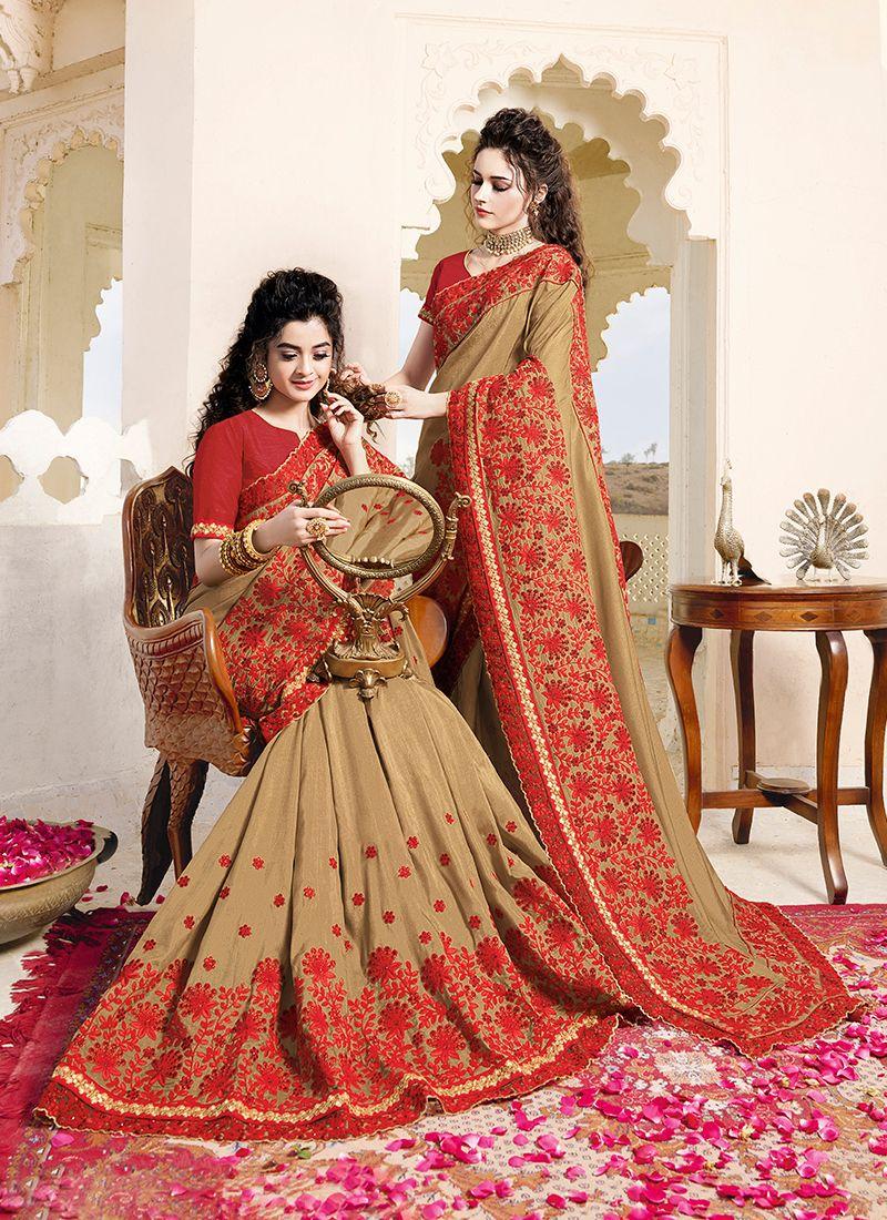 Beige Art Silk Designer Saree