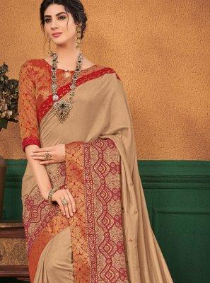 Beige Art Silk Designer Traditional Saree