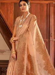Beige Art Silk Designer Traditional Saree