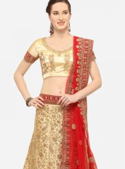 Beige Art Silk Embroidered Trendy Lehenga Choli