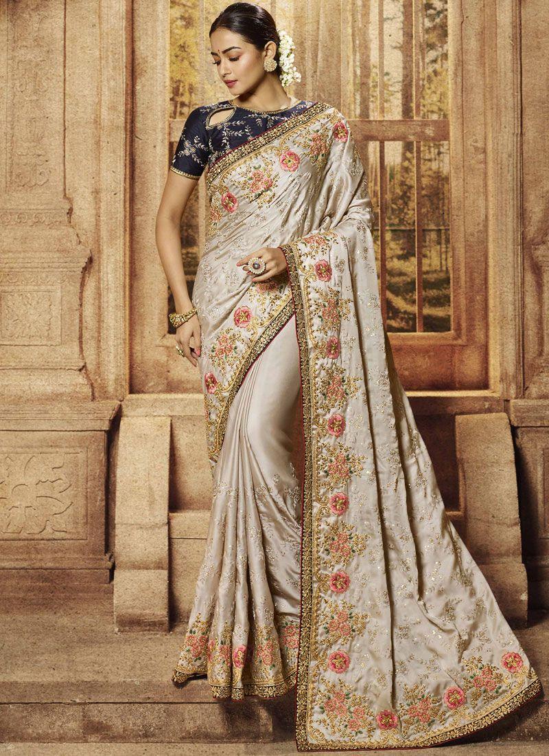 Beige Art Silk Traditional Designer Saree