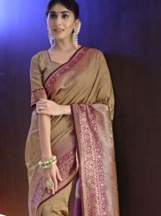Beige Art Silk Weaving Traditional Designer Saree