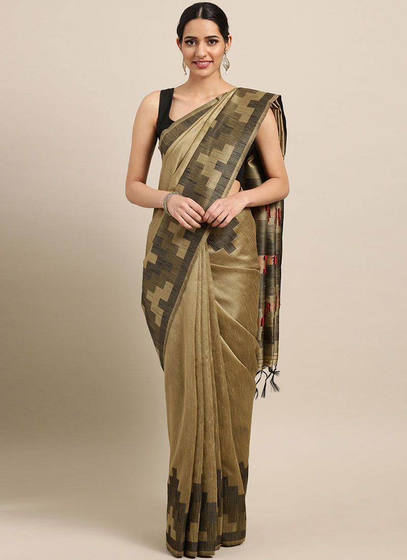 Beige Art Silk Woven Designer Traditional Saree
